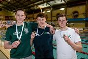 14 December 2014; Medallists in the Mens 400m Individual Medley, from left, Andrew Moore, silver, Galway swimming club, Ben Griffin, gold, Aer Lingus swimming club, and Benjamin Doyle, bronze, Aer Lingus swimming club, at  Day 3 of the Irish Short Course Swimming Championships. Lagan Valley LeisurePlex, Lisburn, Co. Antrim. Picture credit: Oliver McVeigh / SPORTSFILE
