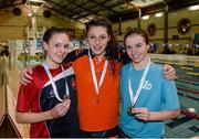 14 December 2014; Medallists in the Womens 1500m Freestyle, from left, Katie Baguley, silver, Glenalbyn swimming club, Antoinette Neamt, gold, Tallaght swimming club, and Shona Hickey, bronze, Limerick swimming club, at  Day 3 of the Irish Short Course Swimming Championships. Lagan Valley LeisurePlex, Lisburn, Co. Antrim. Picture credit: Oliver McVeigh / SPORTSFILE