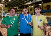 14 December 2014; Medallists in the Mens 800m Freestyle, from left, Ethan O'Brien, silver, Limerick swimming club, Brendan Gibbons, gold, Athlone swimming club, and Jack McMillan, bronze, Bangor swimming club, at  Day 3 of the Irish Short Course Swimming Championships. Lagan Valley LeisurePlex, Lisburn, Co. Antrim. Picture credit: Oliver McVeigh / SPORTSFILE