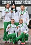 15 December 2014; Team Ireland athletes, who won team bronze medals in the Senior Women's event, clockwise, from left, Siobhan O'Doherty, Laura Crowe, Michelle Finn, Ann Marie McGlynn and Fionnuala Britton in Dublin Airport on their return home from the Spar European Cross Country Championships in Bulgaria. Terminal 1, Dublin Airport, Dublin. Picture credit: Brendan Moran / SPORTSFILE