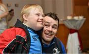17 December 2014; Leinster Rugby players Dave Kearney, Cian Healy and Jack Conan surprised 30 children from three wonderful charities at a Christmas party at the Conrad Dublin Hotel today.  Conrad Dublin, official hotel to Leinster Rugby, arranged for youngsters from LauraLynn, Heart Children Ireland and Blackrock Flyers Special Olympics Club to meet their sporting heroes, with Santa Claus flying in for the party with gifts for everyone. Pictured are Leinster's Cian Healy and Hughie Brophy aged 11 from Blackrock, Dublin. Conrad Dublin Hotel, Earlsfort Terrace, Dublin. Picture credit: Barry Cregg / SPORTSFILE