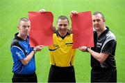 """17 December 2014; At Páirc an Chrócaigh, Uachtarán Chumann Lúthchleas Gael Liam Ó Néill launched a new recruitment campaign aimed at bolstering the number of volunteers involved in refereeing at all levels of the Association. The """"Think You Can Do Better?"""" campaign will involve Inter County Referees assisting as Recruitment Ambassadors in their own counties. The aim of the campaign is to increase the numbers of referees officiating at club games throughout the country and consequently pushing onto provincial and national level over the next few years. In attendance at the launch are, from left, Inter County Referees, Joe McQuillan, football, Rory Hickey, football, and Alan Kelly, hurling. Croke Park, Dublin. Picture credit: Piaras Ó Mídheach / SPORTSFILE"""