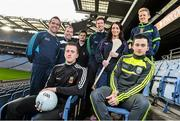 18 December 2014; The GPA Madden Leadership Programme will develop a group of county players from hurling, football and camogie with the necessary skills, motivation and experience to become successful leaders in the community. The Programme, which will run initially for three years, is a bespoke, one-year blended learning Leadership Course which will be delivered by the Gaelic Players Association in conjunction with independent leadership experts. Pictured at the launch of GPA Madden Leadership Programme are Mayo footballer Cillian O'Connor, left, and Kerry footballer Paul Murphy, right, with, back row, from left, Dublin footballer Ger Brennan, Armagh footballer Ciaran McKeever, Derry dual star Chrissy McKaigue, Limerick hurler Seamus Hickey, Wexford camgoie star Ursula Jacob and Mayo ladies football star Fiona McHale. Croke Park, Dublin. Picture credit: Ramsey Cardy / SPORTSFILE