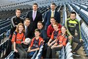 18 December 2014; The GPA Madden Leadership Programme will develop a group of county players from hurling, football and camogie with the necessary skills, motivation and experience to become successful leaders in the community. The Programme, which will run initially for three years, is a bespoke, one-year blended learning Leadership Course which will be delivered by the Gaelic Players Association in conjunction with independent leadership experts. Pictured at the launch of GPA Madden Leadership Programme are, from left, Mayo footballer Cillian O'Connor, Dessie Farrell, Chief Executive of the Gaelic Players Association, Tipperary hurler Darren Gleeson, Michael Madden, former Tipperary hurling manager Liam Sheedy, Limerick hurler Seamus Hickey and Kerry footballer Paul Murphy with Scoil Neasáin Harmonstown pupils, from left, Rachel Nic Aonghusa, age 12, Niall O Cairbre, age 11, Cúán O Maoileoin, age 12, and Ellen Potts, age 11. Croke Park, Dublin. Picture credit: Ramsey Cardy / SPORTSFILE