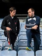 18 December 2014; The GPA Madden Leadership Programme will develop a group of county players from hurling, football and camogie with the necessary skills, motivation and experience to become successful leaders in the community. The Programme, which will run initially for three years, is a bespoke, one-year blended learning Leadership Course which will be delivered by the Gaelic Players Association in conjunction with independent leadership experts. Pictured at the launch of GPA Madden Leadership Programme are Derry dual star Chrissy McKaigue, left, and Armagh footballer Ciaran McKeever, right. Croke Park, Dublin. Picture credit: Ramsey Cardy / SPORTSFILE