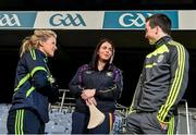 18 December 2014; The GPA Madden Leadership Programme will develop a group of county players from hurling, football and camogie with the necessary skills, motivation and experience to become successful leaders in the community. The Programme, which will run initially for three years, is a bespoke, one-year blended learning Leadership Course which will be delivered by the Gaelic Players Association in conjunction with independent leadership experts. Pictured at the launch of GPA Madden Leadership Programme are Mayo ladies football star Fiona McHale, left, Wexford camogie star Ursula Jacob, centre, and Kerry footballer Paul Murphy, right. Croke Park, Dublin. Picture credit: Ramsey Cardy / SPORTSFILE
