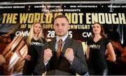 18 December 2014; Boxer Carl Frampton during a press conference ahead of his mandatory IBF World title defence against Mexican American boxer Chris Avalos. Europa Hotel, Belfast, Co. Antrim. Picture credit: Oliver McVeigh / SPORTSFILE