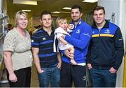 18 December 2014; Leinster's Rob Kearney, Sam Coghlan Murray and Jordi Murphy with 1 year old Leah Bollard, Santry, Dublin, and mother Karen during a visit to Temple Street Children's Hospital. Members of the Leinster Rugby Team visited the patients in Temple Street this afternoon to spread some Christmas cheer. Temple Street Children's Hospital, Temple Street, Dublin. Picture credit: Matt Browne / SPORTSFILE
