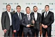 21 December 2014; Dundalk FC players and manager from left, Chris Shields, Stephen Kenny, manager, Stephen O'Donnell, Andy Boyle and Brian Gartland. The team was nominated for the Sport Team of the Year award, at the RTÉ Sports Awards 2014. RTÉ Studios, Donnybrook, Dublin. Picture credit: David Maher / SPORTSFILE