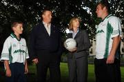 15 August 2007; Dublin manager Paul Caffrey with Suzanne Holmes, Communications Manager, Ireland Card Services MBNA, Mayo footballer and last years winner Fintan Ruddy, right, and Eric Caffrey, at the launch of the MBNA Kick Fada 2007. The MBNA Kick Fada competition, tests the abilities of the countries best footballers to kick for distance and accuracy. Over 20 stars of Gaelic Football will compete for the prestigious All-Ireland title at the 8th annual MBNA Kick Fada competition, which will take place on Saturday, September 8th at Bray Emmets GAA Club, Bray, Co. Wicklow. Herbert Park Hotel, Ballsbridge, Dublin. Picture credit: Pat Murphy / SPORTSFILE