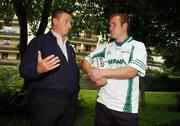 15 August 2007; Dublin manager Paul Caffrey and Mayo footballer and last years winner Fintan Ruddy at the launch of the MBNA Kick Fada 2007. The MBNA Kick Fada competition, tests the abilities of the countries best footballers to kick for distance and accuracy. Over 20 stars of Gaelic Football will compete for the prestigious All-Ireland title at the 8th annual MBNA Kick Fada competition, which will take place on Saturday, September 8th at Bray Emmets GAA Club, Bray, Co. Wicklow. Herbert Park Hotel, Ballsbridge, Dublin. Picture credit: Pat Murphy / SPORTSFILE