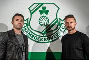 22 December 2014; Shamrock Rovers' Stephen McPhail, right, and LA Galaxy's Robbie Keane at the announcement of a friendly match between Shamrock Rovers and LA Galaxy to be played on February 21st 2015. Tallaght Stadium, Tallaght, Co. Dublin. Picture credit: Paul Mohan / SPORTSFILE