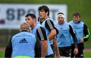 22 December 2014; Munster players including Donncha O'Callaghan during lineout practice at squad training ahead of their Guinness PRO12, Round 11, match against Leinster on Friday. Munster Rugby Squad Squad Training, University of Limerick, Limerick Picture credit: Diarmuid Greene / SPORTSFILE
