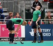 21 August 2007; Eugene Magee, left, and Patrick Browne, right, Ireland, show their disappointment at the final whistle after defeat to the Netherlands. 2007 EuroHockey Nations Championships, Mens, Pool B, Ireland v Netherlands, Belle Vue Hockey Centre, Kirkmanshulme Lane, Belle Vue, Manchester, England. Picture credit: Pat Murphy / SPORTSFILE