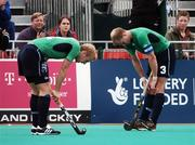 21 August 2007; Eugene Magee and Patrick Brown, right, Ireland, show their disappointment after defeat to the Netherlands. 2007 EuroHockey Nations Championships, Mens, Pool B, Ireland v Netherlands, Belle Vue Hockey Centre, Kirkmanshulme Lane, Belle Vue, Manchester, England. Picture credit: Pat Murphy / SPORTSFILE