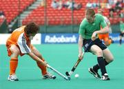21 August 2007; Andy Barbour, Ireland, in action against Wouter Jolie, Netherlands. 2007 EuroHockey Nations Championships, Mens, Pool B, Ireland v Netherlands, Belle Vue Hockey Centre, Kirkmanshulme Lane, Belle Vue, Manchester, England. Picture credit: Pat Murphy / SPORTSFILE