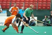 21 August 2007; Eugene Magee, Ireland, in action against Wouter Jolie, Netherlands. 2007 EuroHockey Nations Championships, Mens, Pool B, Ireland v Netherlands, Belle Vue Hockey Centre, Kirkmanshulme Lane, Belle Vue, Manchester, England. Picture credit: Pat Murphy / SPORTSFILE