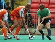 21 August 2007; Ronan Gormley, Ireland, in action against Matthijs Brouwer and Timme Hoyng, left, Netherlands. 2007 EuroHockey Nations Championships, Mens, Pool B, Ireland v Netherlands, Belle Vue Hockey Centre, Kirkmanshulme Lane, Belle Vue, Manchester, England. Picture credit: Pat Murphy / SPORTSFILE