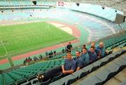 3 June 1999; Ireland players, from left, Jeremy Davidson, Conor O'Shea, Tom Tierney, Girvan Dempsey, Willie Bennett, Team Masseur, and Keith Wood during a tour of Stadium Australia, home of the 2000 Olympic Games, in Sydney, Australia. Photo by Matt Browne/Sportsfile