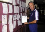 17 November 1999; Republic of Ireland manager Mick McCarthy with one of the many faxes which were sent to the team hotel with messages of good luck before the UEFA European Championships Qualifier Play-Off Second Leg match between Turkey and Republic of Ireland at Ataturk Stadium in Bursa, Turkey. Photo by David Maher/Sportsfile