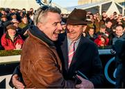 28 December 2014; Winning connections Michael O'Leary, Gigginstown House Stud, and Noel Meade, trainer, right, celebrate after Road To Riches won the Lexus Steeplechase. Leopardstown Christmas Festival, Leopardstown, Co. Dublin. Picture credit: Pat Murphy / SPORTSFILE