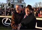28 December 2014;  Michael O'Leary from the Gigginstown House Stud, left, and trainer of Road To Riches Noel Meade after winning the Lexus Steeplechase. Leopardstown Christmas Festival, Leopardstown, Co. Dublin. Picture credit: Paul Mohan / SPORTSFILE