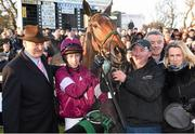28 December 2014; Trainer of Road To Riches Noel Meade, left, jockey Bryan Cooper, Michael O'Leary from the Gigginstown House Stud and his wife Anita after winning the Lexus Steeplechase. Leopardstown Christmas Festival, Leopardstown, Co. Dublin. Picture credit: Paul Mohan / SPORTSFILE