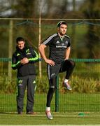 29 December 2014; Munster's Conor Murray, watched by Munster lead physiotherapist Shea McAleer, trains separate to team-mates during squad training ahead of their Guinness PRO12, Round 12, match against Connacht on New Year's Day. Munster Rugby Squad Training, University of Limerick, Limerick. Picture credit: Diarmuid Greene / SPORTSFILE