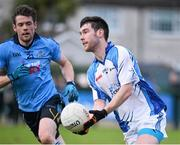 1 January 2015; Michael Concarr,  Dubs Stars, in action against Stuart Lowndes,  Dublin. Dublin v Dubs Stars - Herald / Dublin Bus Football Challenge 2015. Parnells GAA Club, Dublin. Picture credit: David Maher / SPORTSFILE
