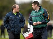 3 January 2015; Kerry manager Darragh O Se with selector Seamus Moynihan, left. Roscommon v Kerry, Hastings Cup 2015 Group 2 Round 1. Gort GAA Grounds, Gort, Co. Galway. Picture credit: Pat Murphy / SPORTSFILE