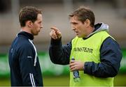 4 January 2015; Kieran McGeeney, Armagh manager, right, speaks to Finnian Moriarty, before the game. Bank of Ireland Dr McKenna Cup, Group C, Round 1, Armagh v Tyrone. Athletic Grounds, Armagh. Picture credit: Oliver McVeigh / SPORTSFILE