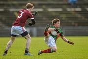 4 January 2015; Neil Douglas, Mayo, in action against Kevin McDonald, NUIG. FBD League, Section A, Round 1, NUI Galway v Mayo. Elverys MacHale Park, Castlebar, Co. Mayo. Picture credit: Ray Ryan / SPORTSFILE