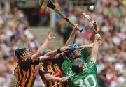 2 September 2007; Kilkenny's Jackie Tyrrell and Brian Hogan, partially hidden, contest a dropping ball against Brian Begley and Pat Tobin, 30, Limerick. Guinness All-Ireland Senior Hurling Championship Final, Kilkenny v Limerick, Croke Park, Dublin. Picture credit; Pat Murphy / SPORTSFILE