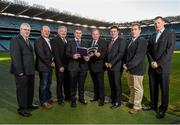 6 January 2015; In attendance at the launch of Hurling 2020 Committee Report are, from left, Ed Donnelly, Hurling 2020 Secretary, Terence McNaughton, Pat Henderson, Liam Sheedy, Chairman of the Hurling 2020 Committee, Uachtarán Chumann Lúthchleas Gael Liam Ó Néill, Paul Flynn, Des Cullinane and Frank Lohan. Croke Park, Dublin. Picture credit: Paul Mohan / SPORTSFILE