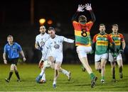7 January 2015; Darroch Mulhall, Kildare, in action against Sean Gannon, Carlow. Bord na Mona O'Byrne Cup, Group B, Round 2, Kildare v Carlow, Geraldine Park, Athy, Co. Kildare. Picture credit: David Maher / SPORTSFILE