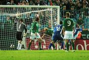 8 September 2007; Maros Klimpl, extreme right, celebrates after scoring Slovakia's first goal, as Republic of Ireland goalkeeper Shay Given moves to retreive the ball. 2008 European Championship Qualifier, Slovakia v Republic of Ireland, Slovan Stadion, Tehelné Pole, Bratislava, Slovakia. Picture credit; David Maher / SPORTSFILE