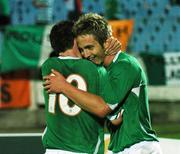 8 September 2007; Kevin Doyle, Republic of Ireland, celebrates with team-mate Robbie Keane after scoring the second goal. 2008 European Championship Qualifier, Slovakia v Republic of Ireland, Slovan Stadion, Tehelné Pole, Bratislava, Slovakia. Picture credit; David Maher / SPORTSFILE
