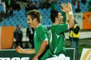 8 September 2007; Kevin Doyle, left, Republic of Ireland, and team-mate Robbie Keane celebrate after scoring the second goal. 2008 European Championship Qualifier, Slovakia v Republic of Ireland, Slovan Stadion, Tehelné Pole, Bratislava, Slovakia. Picture credit; David Maher / SPORTSFILE