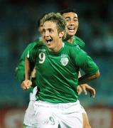 8 September 2007; Kevin Doyle, Republic of Ireland, and team-mate Stephen Kelly, right, celebrate after Doyle scored the second goal. 2008 European Championship Qualifier, Slovakia v Republic of Ireland, Slovan Stadion, Tehelné Pole, Bratislava, Slovakia. Picture credit; David Maher / SPORTSFILE