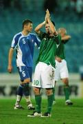 8 September 2007; A dejected Republic of Ireland captain Robbie Keane applauds the supporters at the end of the game. 2008 European Championship Qualifier, Slovakia v Republic of Ireland, Slovan Stadion, Tehelné Pole, Bratislava, Slovakia. Picture credit; David Maher / SPORTSFILE