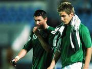 8 September 2007; A dejected  Republic of Ireland captain Robbie Keane, left, and Kevin Doyle at the end of the game. 2008 European Championship Qualifier, Slovakia v Republic of Ireland, Slovan Stadion, Tehelné Pole, Bratislava, Slovakia. Picture credit; David Maher / SPORTSFILE
