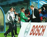 8 September 2007; Steve Staunton, Republic of Ireland manager, shakes hands with Stephen Ireland after his was subsituted during the second half. 2008 European Championship Qualifier, Slovakia v Republic of Ireland, Slovan Stadion, Tehelné Pole, Bratislava, Slovakia. Picture credit; David Maher / SPORTSFILE