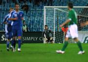 8 September 2007; A dejected Shay Given, Republic of Ireland, after Marek Cech, Slovakia, scored his side's second goal during the closing stages of the game. 2008 European Championship Qualifier, Slovakia v Republic of Ireland, Slovan Stadion, Tehelné Pole, Bratislava, Slovakia. Picture credit; David Maher / SPORTSFILE