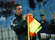 8 September 2007; The fourth official, Paolo Dondarini, places the flag back onto the corner flag pole during the game. 2008 European Championship Qualifier, Slovakia v Republic of Ireland, Slovan Stadion, Tehelné Pole, Bratislava, Slovakia. Picture credit; David Maher / SPORTSFILE