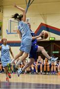 10 January 2015; Niamh Dwyer, Team Montenotte Hotel Cork, in action against Fionnuala Toner, DCU Mercy. Basketball Ireland Women's National Cup, Semi-Final, Team Montenotte Hotel Cork v DCU Mercy, Neptune Stadium, Cork. Picture credit: Brendan Moran / SPORTSFILE