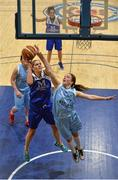 10 January 2015; Marie Breen, Team Montenotte Hotel Cork, in action against Rachel Brittenham, DCU Mercy. Basketball Ireland Women's National Cup, Semi-Final, Team Montenotte Hotel Cork v DCU Mercy, Neptune Stadium, Cork. Picture credit: Brendan Moran / SPORTSFILE