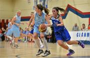 10 January 2015; Rachel Brittenham, DCU Mercy, in action against Aine McKenna, Team Montenotte Hotel Cork. Basketball Ireland Women's National Cup, Semi-Final, Team Montenotte Hotel Cork v DCU Mercy, Neptune Stadium, Cork. Picture credit: Brendan Moran / SPORTSFILE