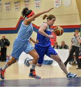 10 January 2015; Niamh Dwyer, Team Montenotte Hotel Cork, in action against Katie Black, DCU Mercy. Basketball Ireland Women's National Cup, Semi-Final, Team Montenotte Hotel Cork v DCU Mercy, Neptune Stadium, Cork. Picture credit: Brendan Moran / SPORTSFILE