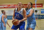 10 January 2015; Marie Breen, Team Montenotte Hotel Cork, in action against Deirdre Gainey, DCU Mercy. Basketball Ireland Women's National Cup, Semi-Final, Team Montenotte Hotel Cork v DCU Mercy, Neptune Stadium, Cork. Picture credit: Brendan Moran / SPORTSFILE