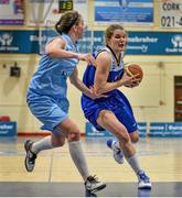 10 January 2015; Claire Rockall, Team Montenotte Hotel Cork, in action against Rachel Brittenham, DCU Mercy. Basketball Ireland Women's National Cup, Semi-Final, Team Montenotte Hotel Cork v DCU Mercy, Neptune Stadium, Cork. Picture credit: Brendan Moran / SPORTSFILE